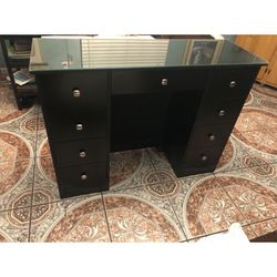 Black Vanity Desk With Glass Top for Sale in Los Angeles,  CA
