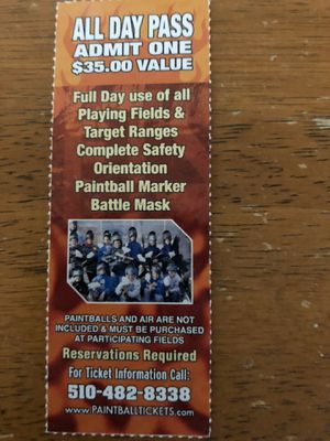 Paintball tickets for Camp Pendleton location for Sale in San Marcos, CA
