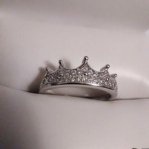 Size 8 Diamond Quality White Sapphire Crown Ring 925 Sterling for Sale in Lombard, IL