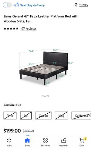 Move out sale!Zinus leather full size bed frame for Sale in Presto, PA