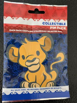 Disney Collectible Pin Pack. Each Pack Contains 5 Randomly Selected Pins. Package is New Never Opened. Mickey Mouse, Minnie Mouse, Alice in Wonderlan for Sale in Eastvale, CA