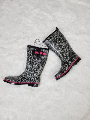 BLACK & WHITE POLKA DOT RUBBER RAIN BOOTS WITH PINK ACCENTS! for Sale in Taunton, MA