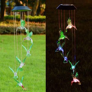 (NEW) $10 Solar Color Changing LED Hummingbird Wind Chimes Home Garden Decor Light Lamp for Sale in Whittier, CA