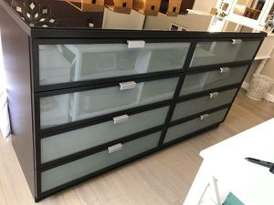 PERFECT CONDITION!! Ikea Frosted Glass Panel 8 Drawers Drawer Dresser Chest Clothes Storage TV Media Entertainment Stand Cabinet Organizer for Sale in Monterey Park, CA