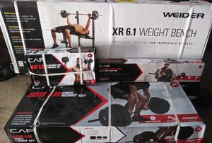 100 lb weight set, bench with rack, curl bar, & 40 lb adjustable dumbbells for Sale in Austin, TX