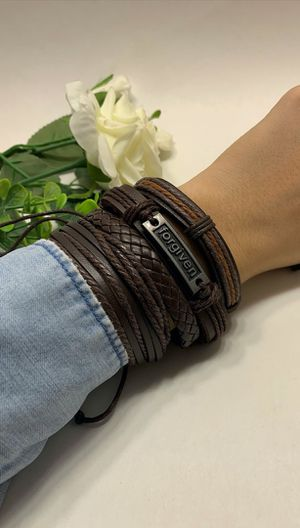 Braided Multi-layer Leather Bracelet (Set of 4), Forgiven for Sale in Tustin, CA