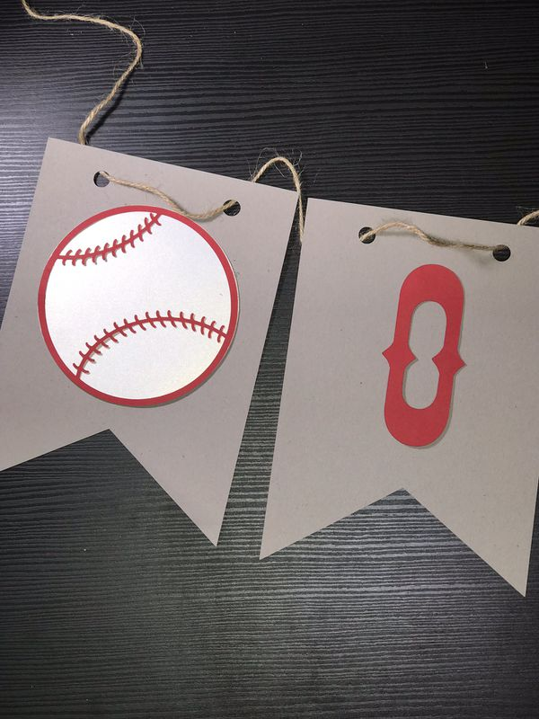 Baseball Theme First Birthday Banner