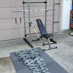 Power Cage Home Gym With Weights for Sale in Tacoma, WA