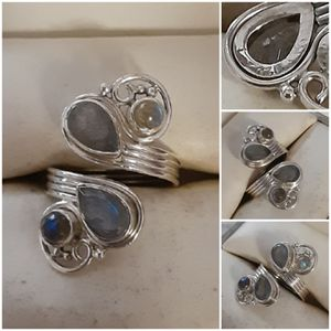 92.5 Sterling Silver Amethyst And Rainbow Moonstone Adjustable Ring for Sale in Pawtucket, RI