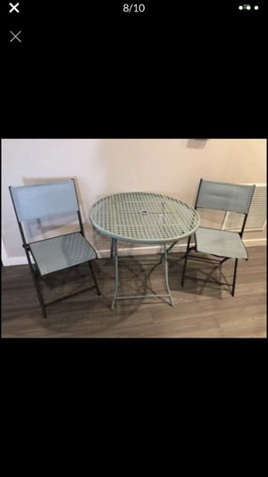 patio set, all foldable, table diameter 32 and 2 chairs for Sale in Fort Myers, FL