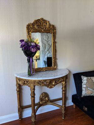 Antique roccoco carved wood gold console entrance foyer table with mirror and italian carrara marble top, vintage for Sale in Los Angeles, CA