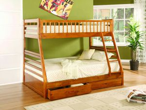 Brand New Oak Twin/Full Bunk Bed for Sale in Austin, TX