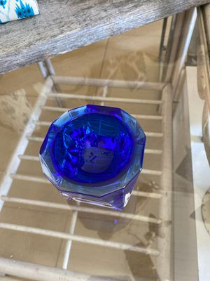 Cobalt blue small dish signed J.G.Durand,Small ashtray, glass, heavy, paperweight, home office, Father's Day. 3 in.² 2 1/2 inches tall for Sale in Palm Beach Gardens, FL