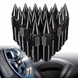 Black 20PCS M12X1.5 Cap Spiked Extended Tuner 60mm Aluminum Wheels Rims Lug Nuts for Sale in Hialeah, FL