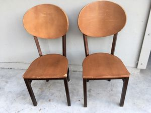 (2 ) sturdy heavy wood & metal chairs. Restaurant quality. for Sale in San Francisco, CA