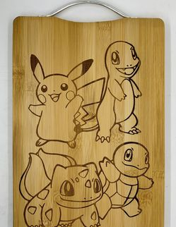 Pokemon laser engraved bamboo high quality cuttingboard pop gift for Sale in Los Angeles,  CA