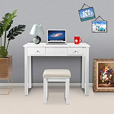 Vanity Table with Flip Top Mirror Makeup Dressing Table Writing Desk with Cushioning Makeup Stool Set