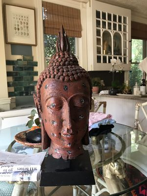 Large distressed Buddha boho statue on stand for Sale in Dix Hills, NY