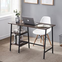VECELO Rectangle Computer Writing Desk Workstation Study Table with 2-Open Tiers Storage Shelves for Office and Home, Brown for Sale in Diamond Bar,  CA