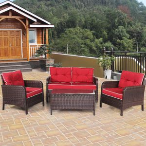 Rattan Loveseat Outdoor Furniture Set with Thick Cushions Glass Top Coffee Table Two Chairs 4 Pcs for Sale in Sacramento, CA
