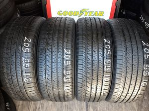 4 USED TIRES 205 55 16 GOOD YEAR EAGLE 95% TREAD DOT 2019 $200 ALL 4 INSTALLED AND BALANCED for Sale in San Diego, CA