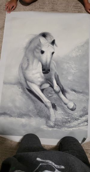 Grey and white horse painting for Sale in Santa Maria, CA