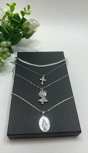 Vintage Rose Flower Cross Christian Portrait Long Pendant Necklace, Silver Color for Sale in Los Angeles, CA