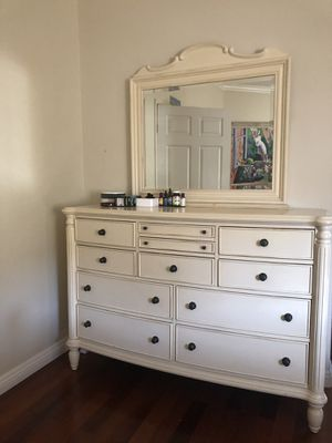 Antique Bed, Antique chested drawers with mirror, antique bedside stand. All sold separately or together for Sale in Los Alamitos, CA