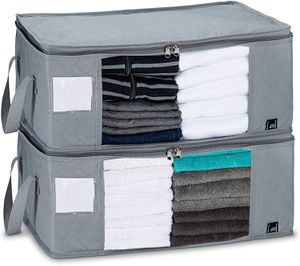 Storage Superior Heavy Duty Clothes Bin Organizer Clear Windows   for Bedroom, Closet Under Bed   19 x 14 x 8 Inches, Gray for Sale in Miami, FL