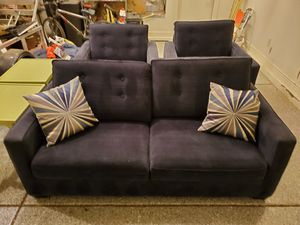 Couch with two oversized chairs. Dark blue and heavy material. Gently used and very comfortable. for Sale in Peoria, AZ