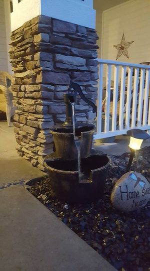 2 Tiers Outdoor Barrel Waterfall Fountain with Pump for Sale in Cadillac, MI