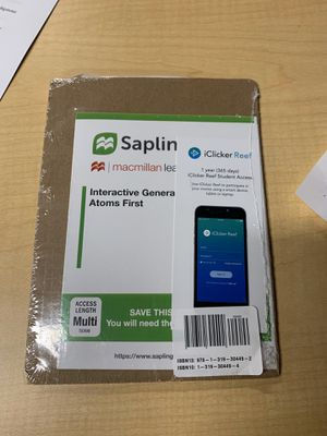 SaplingPlus for interactive General chemistry atoms access code for Sale in Nashville, TN