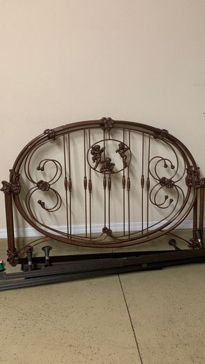 Queen Size Cherub Wrought Iron Head Board, Foot board & bed frame for Sale in Zephyrhills, FL
