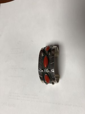 Old silver and coral Native American cuff for Sale in Wayland, MA