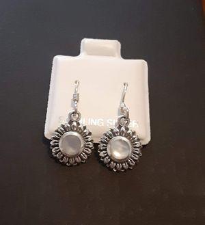 92.5 Sterling Silver Rainbow Moonstone Sunflower Earrings. for Sale in Pawtucket, RI