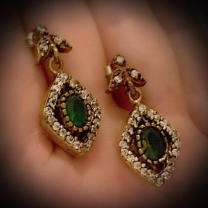 EMERALD FINE ART DANGLE POST EARRINGS Solid 925 Sterling Silver/Gold WOW! Brilliantly Faceted Oval Cut Gemstones, Diamond Topaz M9471 V for Sale in San Diego, CA