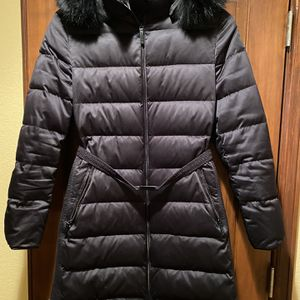 Burberry Women's Winter Black Coat With Dual Zippers, Belt And Fur Trimmed Hood for Sale in Columbine Valley, CO