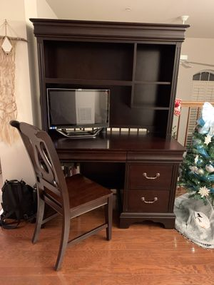 Solid Wood Computer Desk w/ Hutch and Chair for Sale in Haymarket, VA