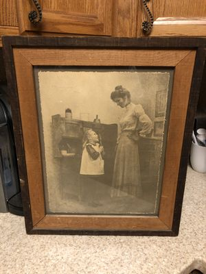 Vintage Sepia Print Mother & Young Girl with Spoon in Kitchen for Sale in Woodland Hills, CA