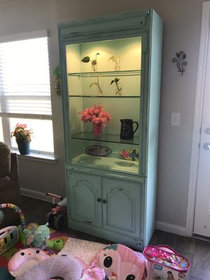 Re-painted cute China cabinet with glass shelf's for Sale in Hutto, TX