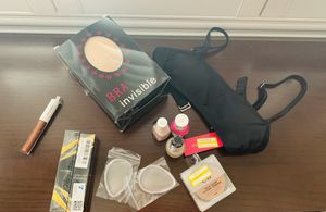 Two invisible bras cup A, 1 black Bikini top xs (00), 3 nail polish, elf setting powder, two silicone beauty blenders and two finishing hair creams for Sale in Las Vegas, NV