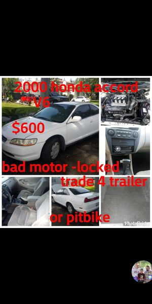 2000 Honda Accord brand new starter but has locked up motor tags up-to-date for Sale in San Bernardino, CA
