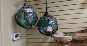 """Antique 12"""" Japanese Glass Fishing Floats made of Hand Blown Green Glass for Sale in Tucson, AZ"""