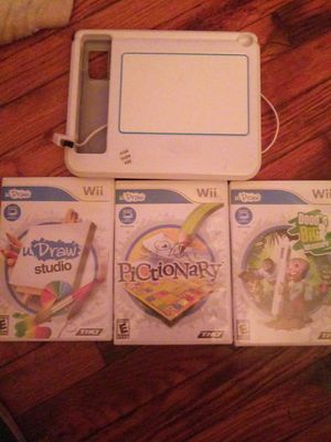 Nintendo Wii udraw tablet and 3 games for Sale in New Rochelle, NY