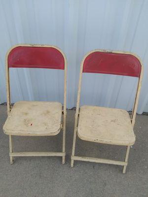 Antique kids metal folding chairs for Sale in Wichita, KS