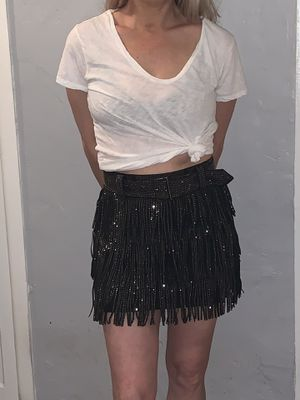 Nylon brand small black fringe skirt with sequins for Sale in Miami, FL