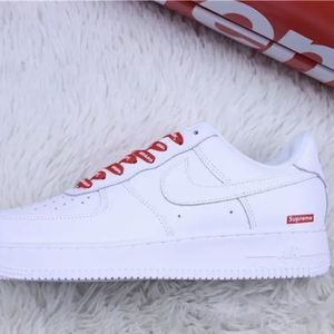 Air Force Ones Custom With Surpreme Shoe Laces for Sale in Fayetteville, GA