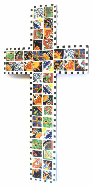 36x18 ORIGINAL SIGNED MOSAIC TALAVERA CROSS. TILE, MORTAR AND WOOD. READY TO HANG! for Sale in Cincinnati, OH