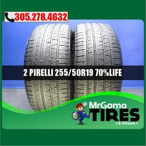 2 PIRELLI SCORPION VERDE A/S RFT XL 255/50/19 USED TIRES NO PATCH BMW 2555019 for Sale in Cutler Bay, FL