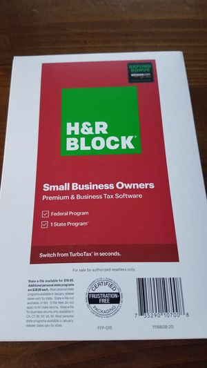 Unsealed H&R Block Small Business Owners Premium & Business Tax Software- 1 Federal Program & 1 State Program (9 of them for sale). for Sale in Orland Park, IL